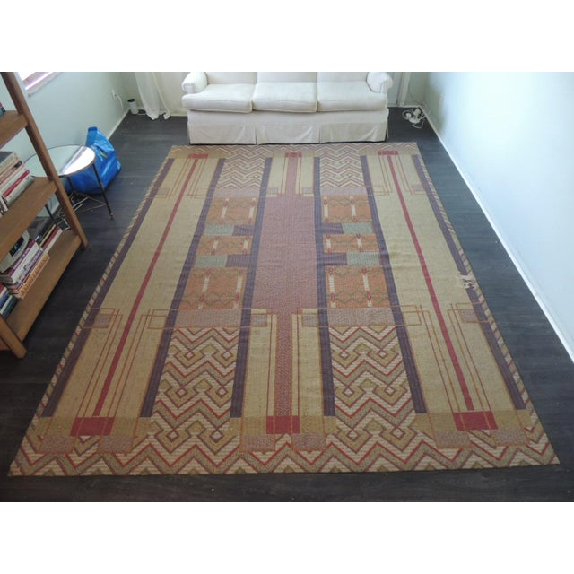 Red Frank Lloyd Wright Arts & Crafts Inspired Rug - 8′6″ × 11′2″ For Sale - Image 8 of 8