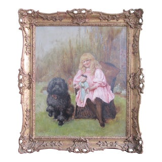 """Vintage Victorian Painting """"A Young Lady With Her Friends"""" Edith Scannell Victorian Illustrator of Children's Books. For Sale"""