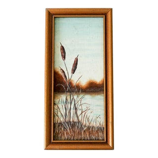Small Framed Vintage Lake Scene Painting on Board For Sale
