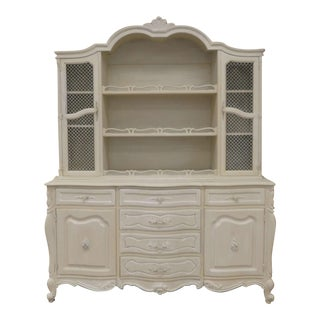 Vintage French Louis XV Ivory Shabby Chic Cage Front Sideboard With Hutch For Sale