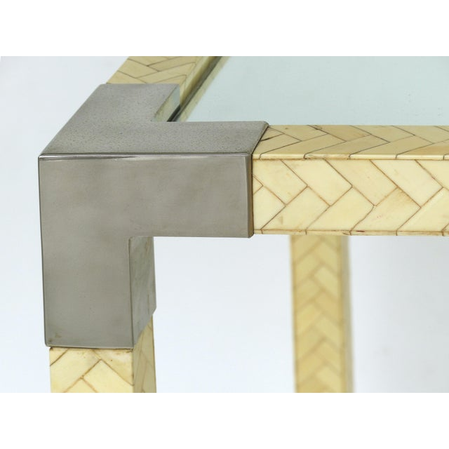 Karl Springer Style Tessellate Bone & Chrome Game Table For Sale In Miami - Image 6 of 10