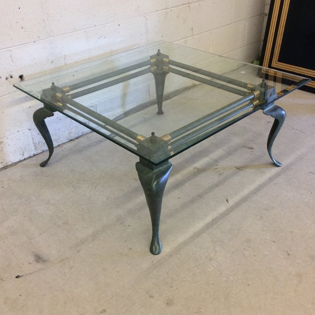 Verdegris Iron Patina and Brass Cabriolet Coffee Table For Sale - Image 4 of 10