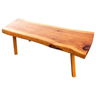 1970s Mid-Century Modern Live Edge Wooden Slab Bench For Sale