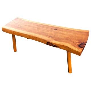 1970s Mid-Century Modern Live Edge Wooden Slab Bench