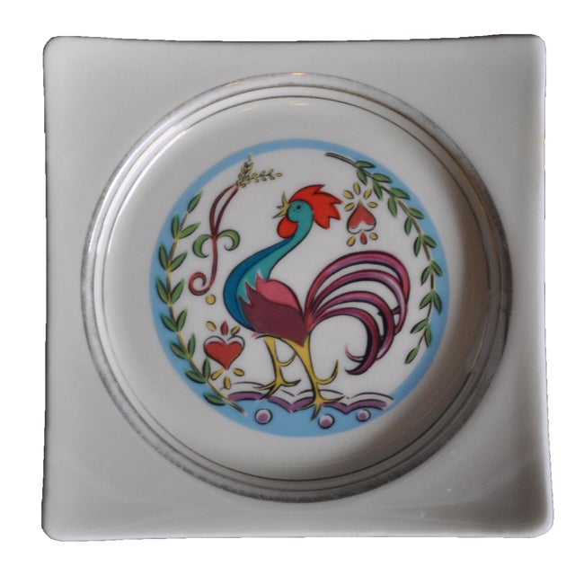 Vintage 1950's Hyalyn Rooster Dish For Sale