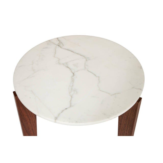 Stillmade Walnut Tripod Side Table with Calcutta Marble Top For Sale - Image 4 of 4