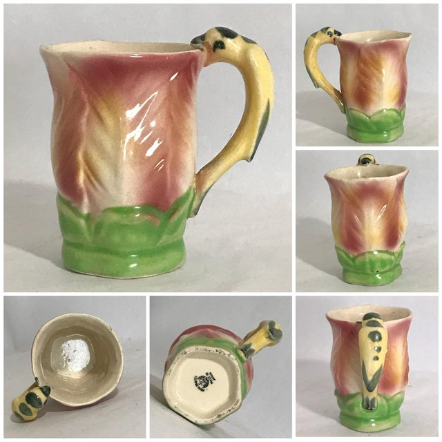 Vintage Majolica Hand Painted Bird Parrot Handle Ceramic Pitcher W Cups - 6 Piece Set For Sale - Image 9 of 12