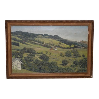 19th Century California Landscape W/ Rolling Hills and Farms C.1890s For Sale
