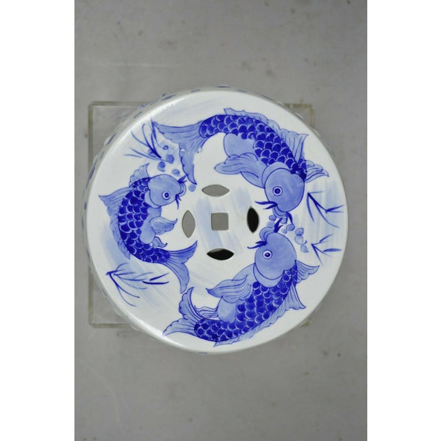 Blue & White Koi Fish Porcelain Chinese Garden Stool For Sale - Image 4 of 12