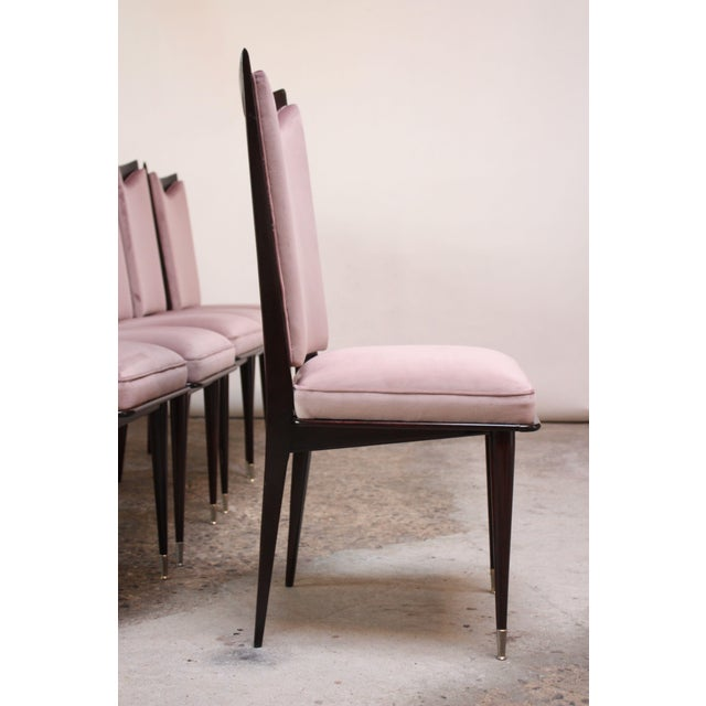 1950s Set of Six Mid-Century Italian Dining Chairs With Nickel Sabots For Sale - Image 5 of 13
