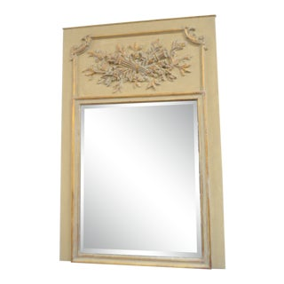 Louis XVI Style Painted in a Light Gold Trumeau Mirror With Carved Elements Accented With Gold Leaf, the Mirror Is New and Beveled. For Sale