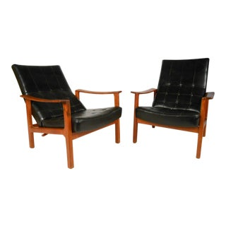 Unique Mid-century Modern Bröderna Andersson Teak Recliner Lounge Chairs - a Pair