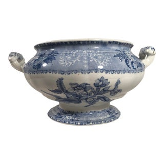 Antique Staffordshire Spode Blue and White Soup Tureen/Center Bowl For Sale