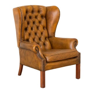 Vintage Leather Chesterfield Wing Back Armchair For Sale