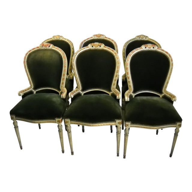 French Painted Gilt Dining Chairs - Set of 6 For Sale