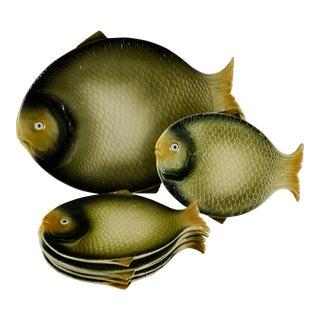 Italian Mid-Century Majolica Fish Service, S/7 For Sale