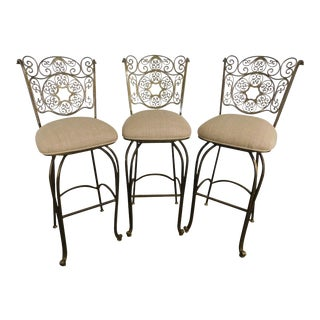 Quality Scrolled Wrought Iron Swivel Barstools - Set of 3 For Sale