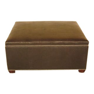1990s Vintage Large Lift Top Leather Ottoman or Coffee Table For Sale