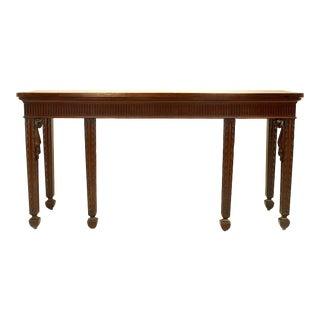 English Georgian Style '19th Century' Mahogany Six-Legged Console Table For Sale