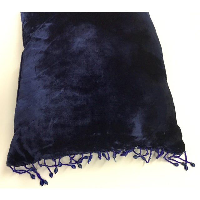 Panne Velvet Beaded and Fringe Throw Pillow For Sale In Portland, ME - Image 6 of 10