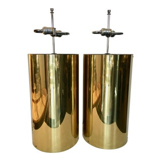 Vintage Large Brass Table Lamps - a Pair