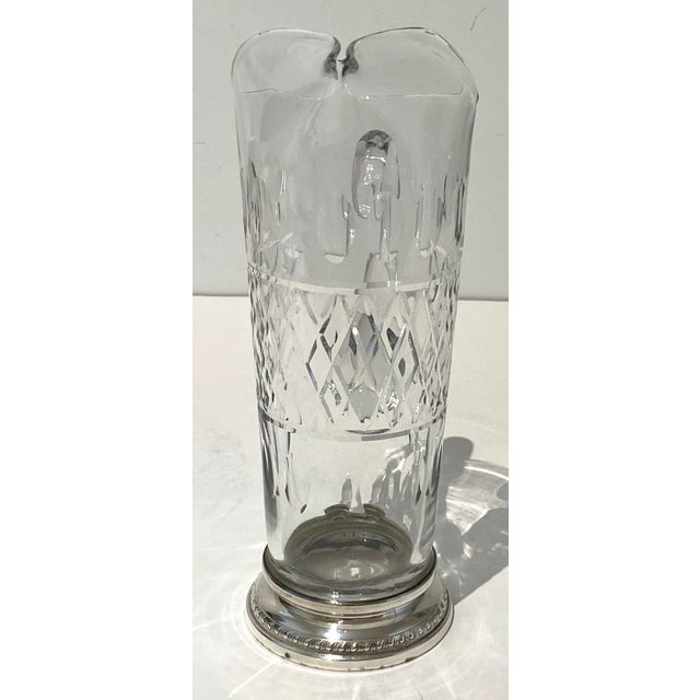 English Vintage Glass and Sterling Pitcher For Sale - Image 3 of 10