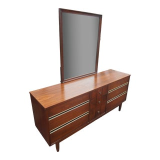 1960's Mid-Century Modern Walnut Triple Dresser With Mirror For Sale