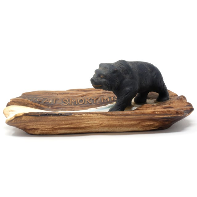 Ceramic Vintage Great Smoky Mountains Ashtray With Black Bear For Sale - Image 7 of 9