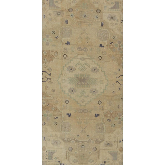 Mid 20th Century Vintage Muted Turkish Oushak For Sale - Image 5 of 8