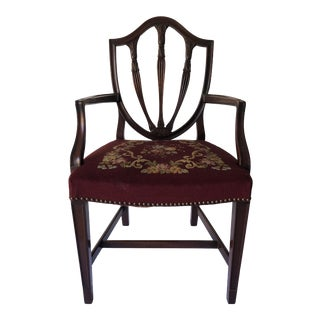 Vintage Mahogany Arm Chair Needlepoint Upholstery For Sale