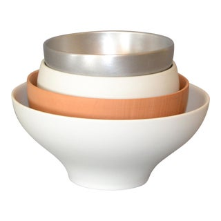 Modern Decorative Bowls White, Silver & Brown in Ceramic Wood & Aluminum - Set 4 For Sale