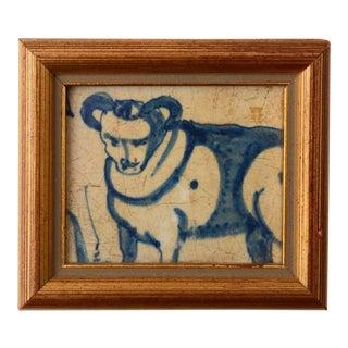 Antique Delft Minotaur Blue Framed Tile For Sale