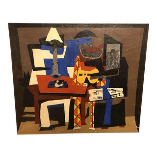 Cubist After Pablo Picasso 3 Musicians Painting