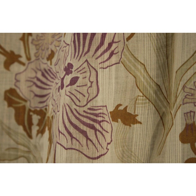 White Antique French Art Nouveau Light Weight Cotton Roller Print Floral Sheer Fabric For Sale - Image 8 of 12