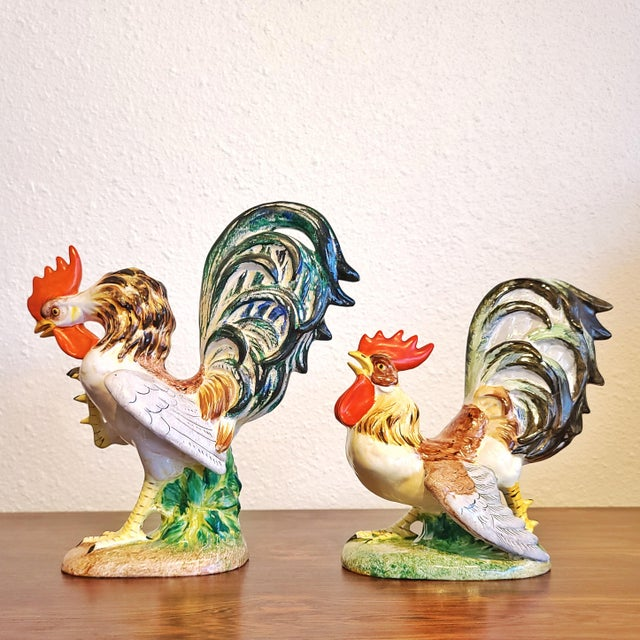 """Zaccagnini """"Fighting Cocks"""" Figurines by Urbano Zaccagnini (Pair) Florence, Italy For Sale - Image 4 of 10"""