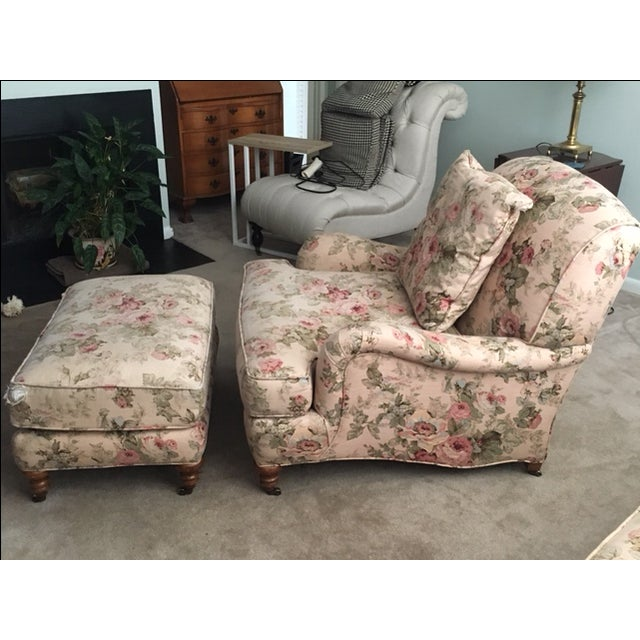 Lee Industries English Style Armchair & Ottoman For Sale - Image 9 of 11