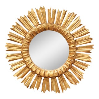 Mid-20th Century French Carved Giltwood Round Sunburst Mirror