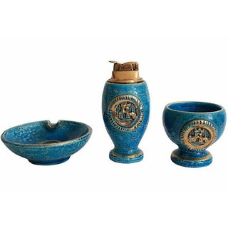 Mid-Century Italian Pottery Smoke Set - Set of 3 For Sale