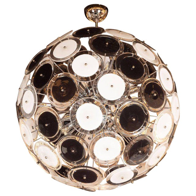 Modernist Polished Chrome Chandelier With Handblown Murano Black and White Discs For Sale