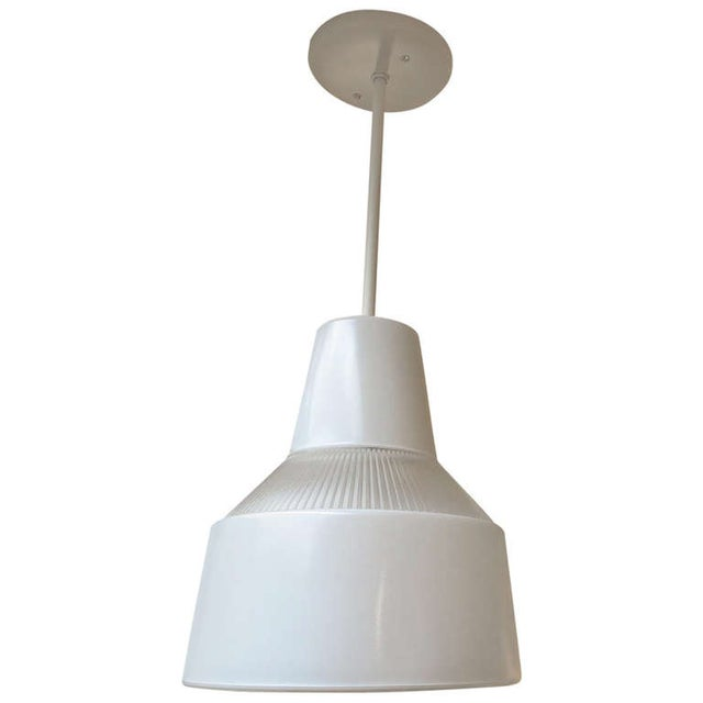 Italian Ribbed Glass Hanging Pendant Lamp For Sale