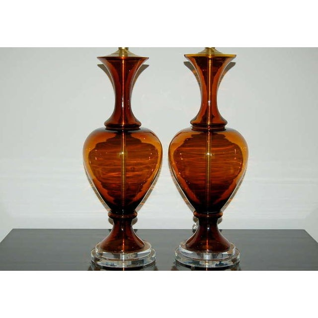 The Marbro Lamp Company Marbro Vintage Murano Glass Table Lamps in Cognac For Sale - Image 4 of 9