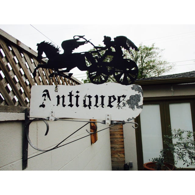 """Rusty Iron """"Antiques"""" Trade Sign Pegasus Horse - Image 3 of 11"""