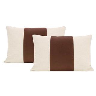 """12""""x 18"""" Mocha Velvet Panel & Linen Lumbar Pillows - a Pair For Sale"""