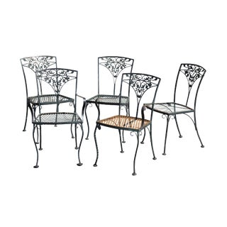 Woodard Vintage Wrought Iron Set 5 Patio Dining Chairs For Sale
