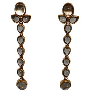 Goossens Paris Tinted Rock Crystal Cashmere Clip Earrings - a Pair For Sale