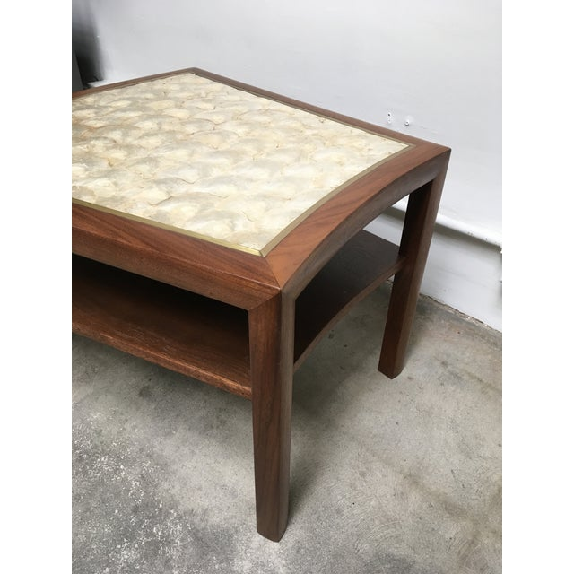 Brown 1950s Mid Century Modern Capiz Shell & Brass Top Side Table For Sale - Image 8 of 10