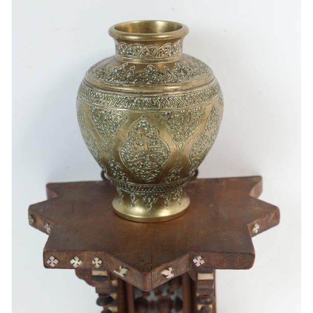 World Class Persian Engraved Ghalam Zani Brass Vases With Wooden