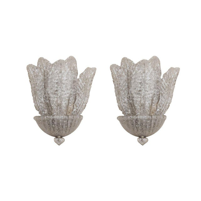 Barovier & Toso Metropolitan Suite West Barovier & Toso Italian Glass Sconces - a Pair For Sale - Image 4 of 4