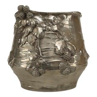 German Art Nouveau Silver-Plate Round Cachpots- A Pair For Sale