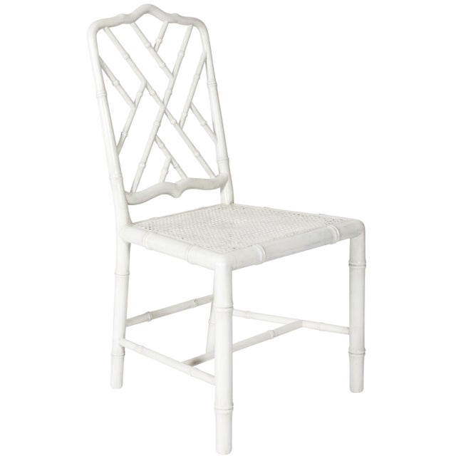 White Painted Faux Bamboo Side Chair - Image 8 of 8